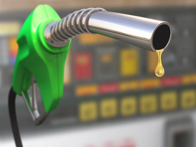 Gas pump with a drop of gasoline fuel.